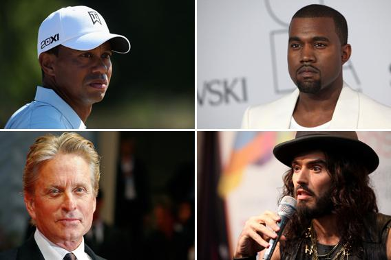 Tiger Woods, Kanye West, Michael Douglas, and Russell Brand.