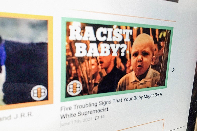 A screenshot of the website the Babylon Bee, with a photo of an article asking if a baby is racist.