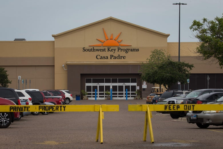 A former Walmart Supercenter under the name Southwest Key Programs, Casa Padre, now being used a migrant children's center.