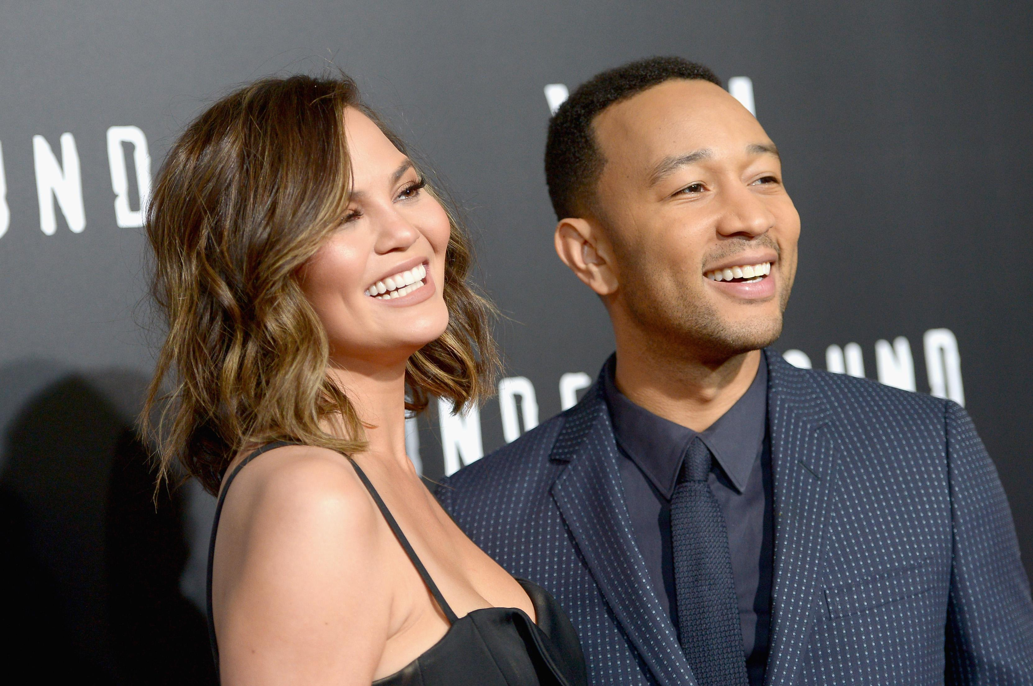 Chrissy Teigen and John Legend attend WGN America's Underground Season Two Premiere in March, 2017.