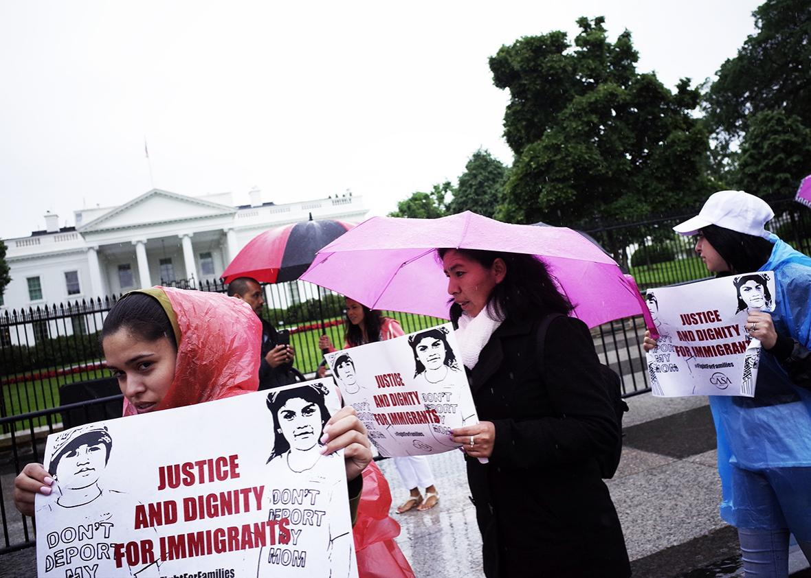 Immigration rights activists take part in a rally in front of the White House on May 17, 2016 in Washington, DC.