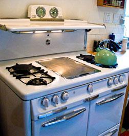 Vintage gas burning stove.