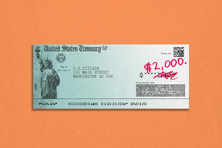 A U.S. Treasury check for $1,400 on which the $1,400 has been crossed out with red pen, with $2,000 written above it.