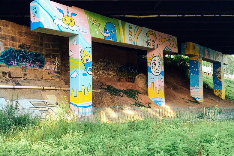 Artwork on an underpass over the Atlanta BeltLine.