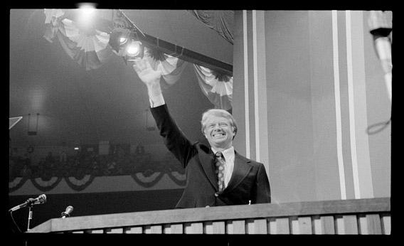 Jimmy Carter waving at the 1976 Democratic National Convention, in July in New York City.