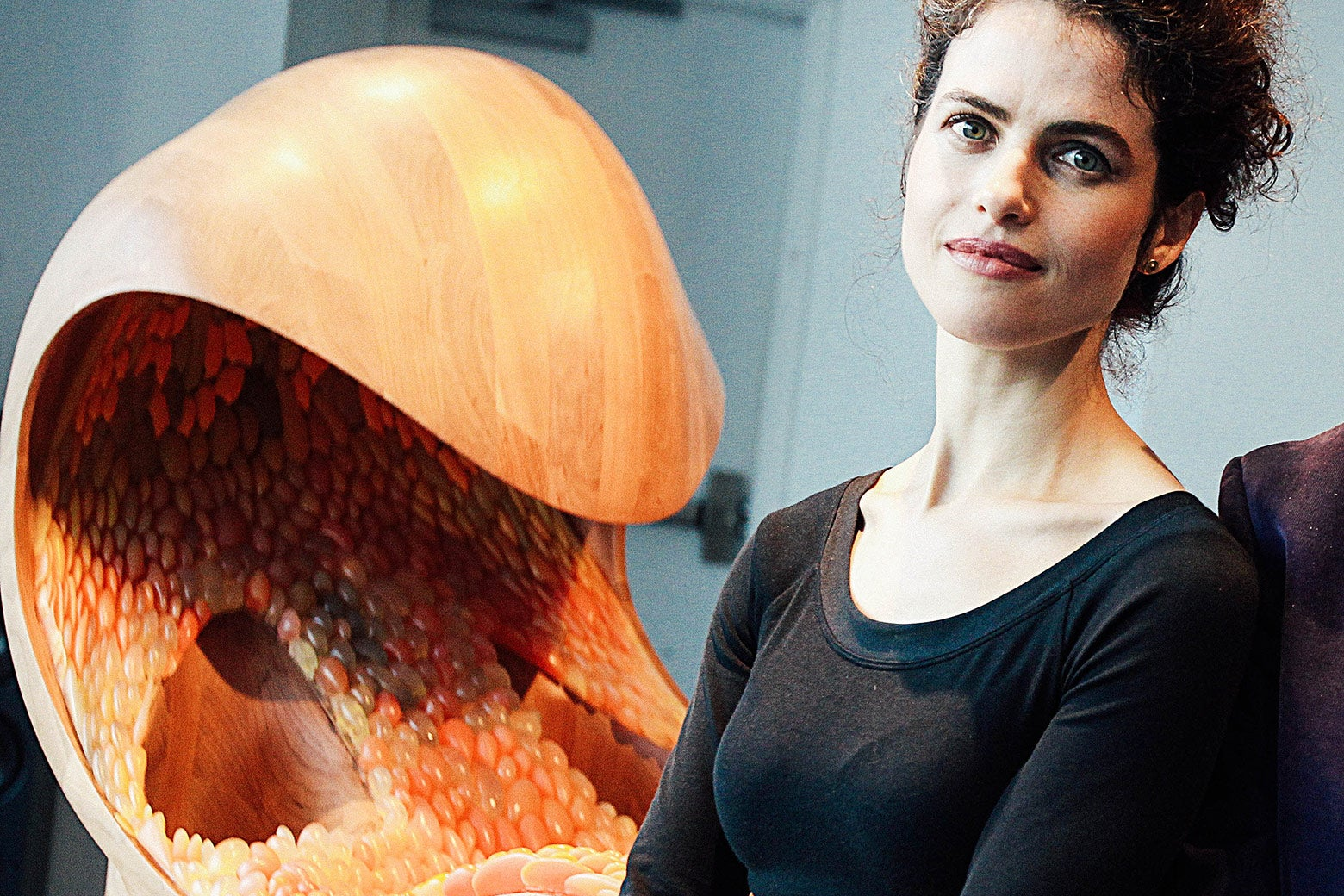 Designer/artist/architect Neri Oxman in front of her piece.