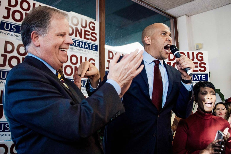Cory Booker at a campaign event with Doug Jones.