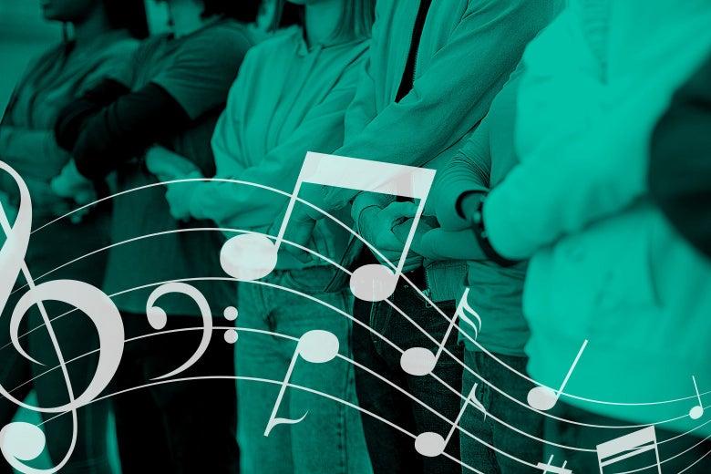 People stand shoulder to shoulder holding hands, behind some musical notes.