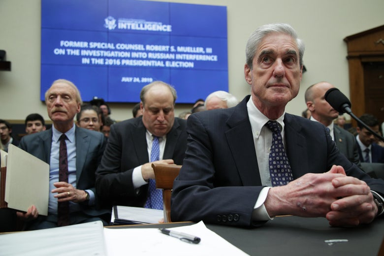 Robert Mueller testifies before the House Intelligence Committee about his report on Russian interference in the 2016 election on July 24 in Washington, D.C.