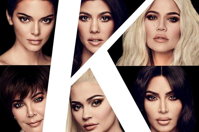 A lavish collage of the Kardashian women's faces