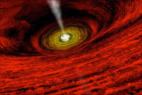 Artist's illustraton of the disk around a giant black hole.