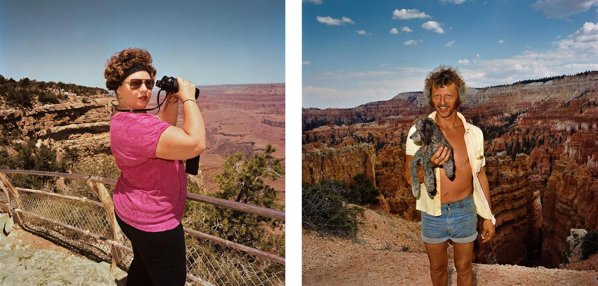 Woman with Bincoculars at South Rim Grand Canyon National Park, AZ. 1980 (l) Man with Dog at Sunset Point Bryce Canyon National Park, UT. 1980 (r)