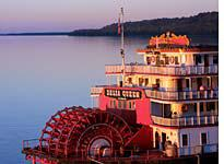 A paddlewheel gaming boat floats off Natchez, Miss.