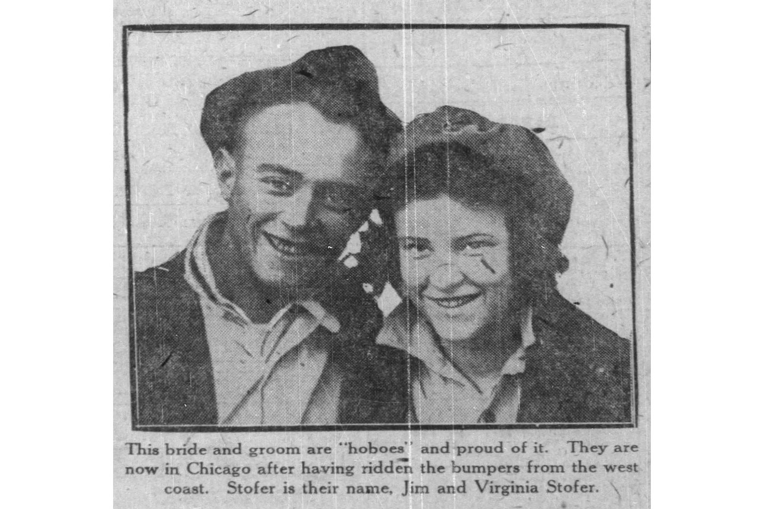 Jim and Virginia Stopher, in a 1922 news clip about their hobo honeymoon.
