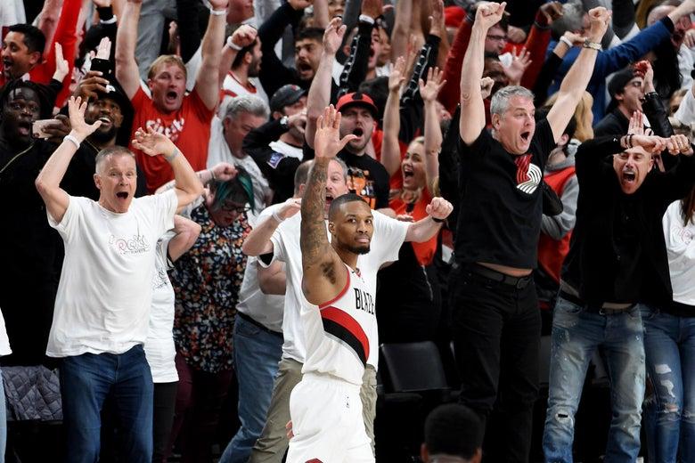 Damian Lillard calmly waves goodbye to the Oklahoma City Thunder.