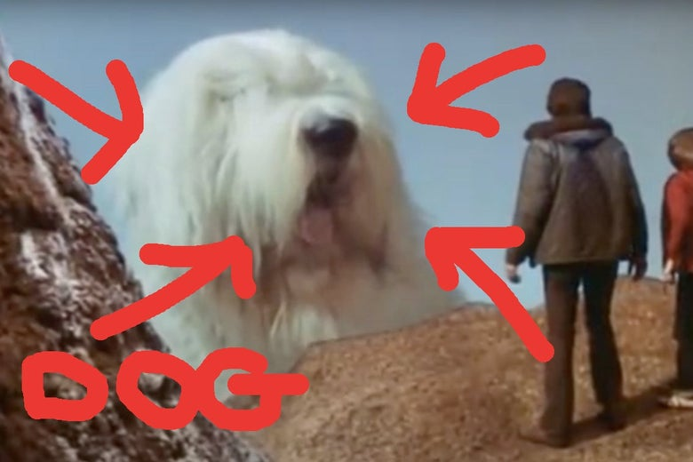 The same giant dog from the preceding image, now identified with bright red arrows.