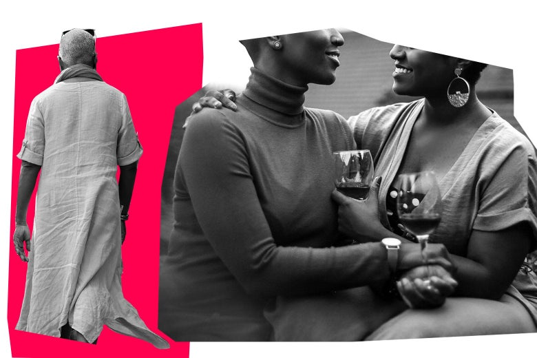 two women cuddling while drinking wine, right, and a woman with her back turned, left