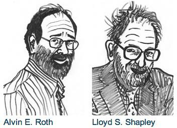 Illustrations of Alvin Roth and Lloyd Shapley