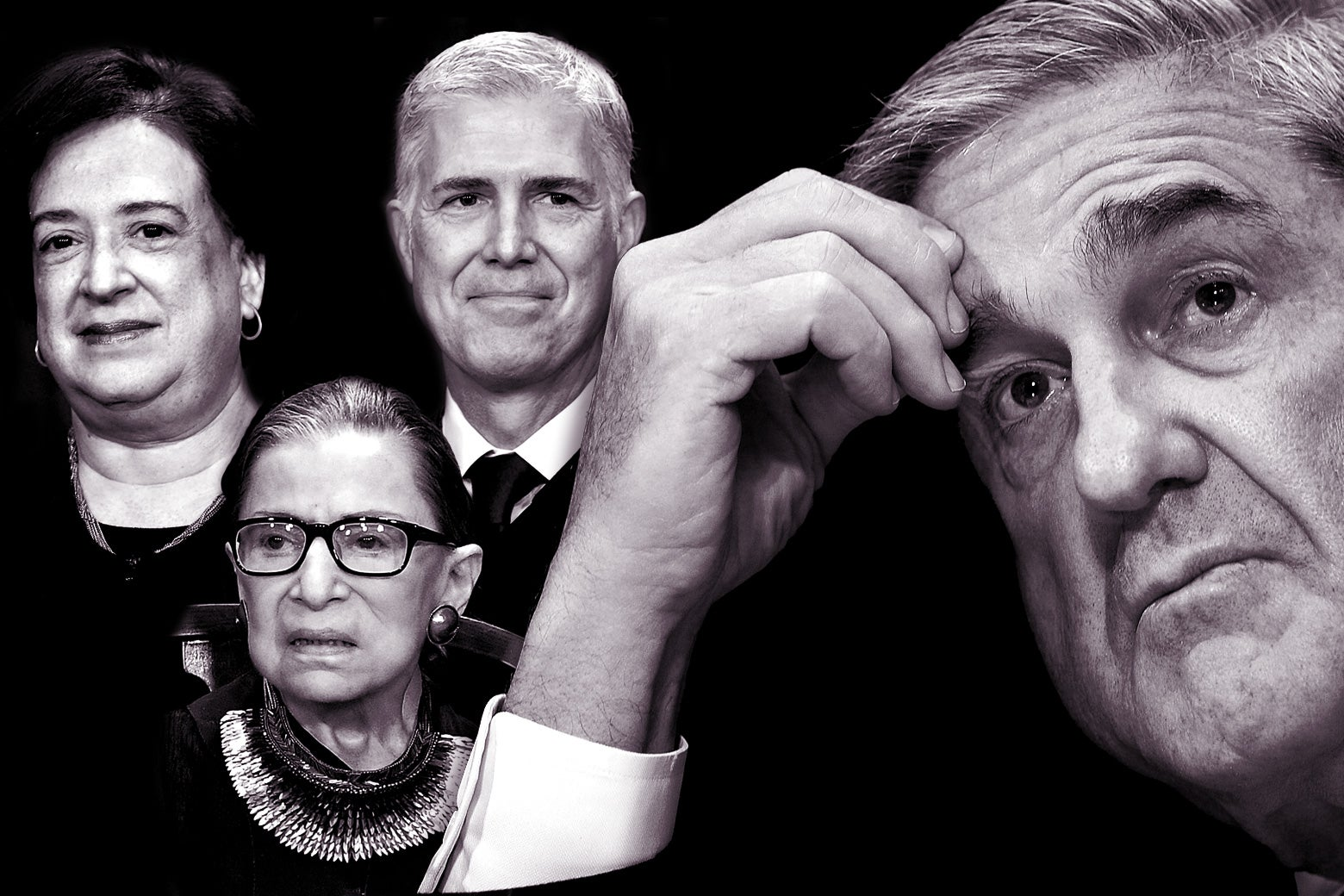 Elena Kagan, Ruth Bader Ginsburg, Neil Gorsuch, and Robert Mueller.