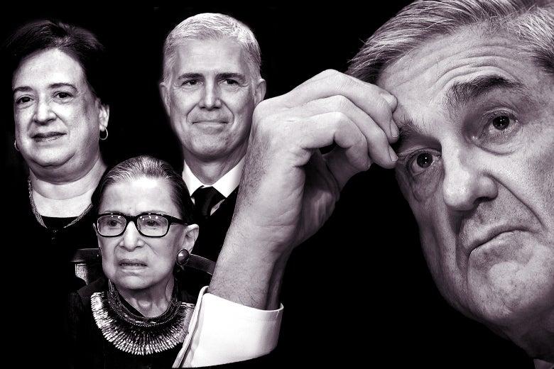 Elena Kagan, Ruth Bader Ginsburg, Neil Gorsuch, and Robert Mueller.