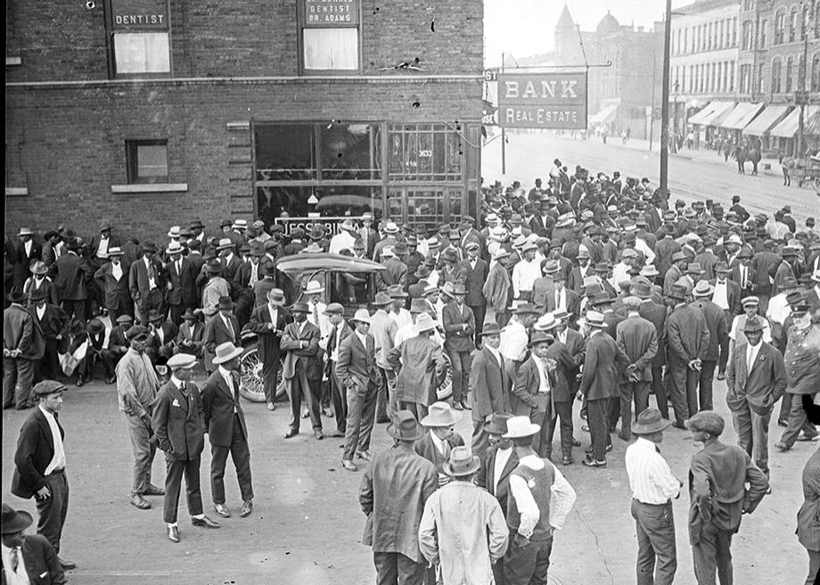 African-Americans gathered on street corners in the riot zone to share news and to form self-defense forces.