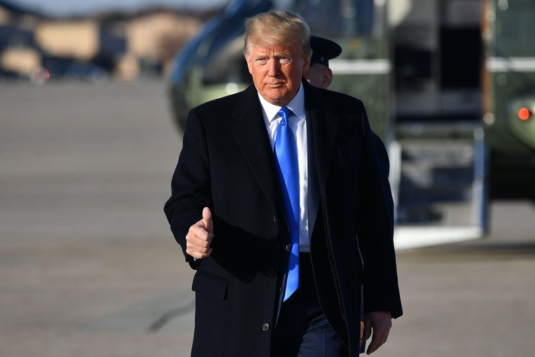 President Donald Trump makes his way to board Air Force One before departing from Andrews Air Force Base in Maryland on December 7, 2019.