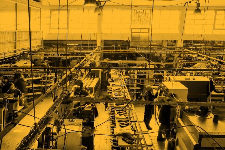 A factory floor.