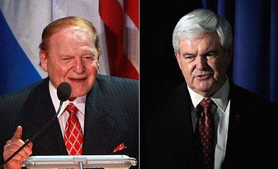 Sheldon Adelson and Newt Gingrich.