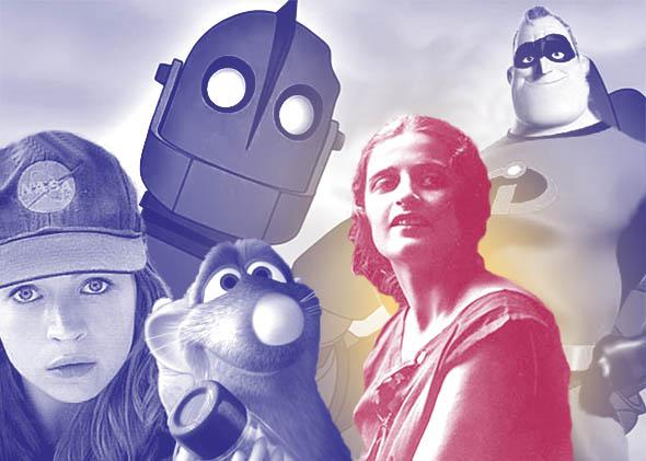 Britt Robertson in Tomorrowland, Remy in Ratatouille, The Iron Giant, writer Ayn Rand and Mr. Incrdible in The Incredibles.