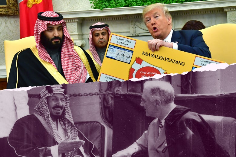 Photo illustration: side-by-side of parallel meetings with U.S. administration and Saudi leadership. Top: President Donald Trump (R) holds up a chart of military hardware sales as he meets with Crown Prince Mohammed bin Salman of the Kingdom of Saudi Arabia in the Oval Office at the White House on March 20, 2018 in Washington, D.C. Bottom: Franklin D. Roosevelt and King Ibn Saud of Saudi Arabia at Great Bitter Lake in Egypt on February 14, 1945.