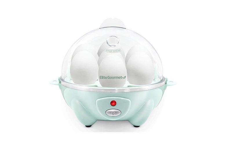 Egg cooker with seven eggs under its dome