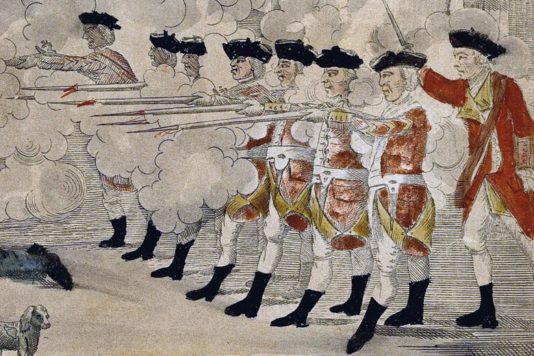A detail from Paul Revere's engraving of the Boston Massacre showing a line of British soldiers firing their muskets into a crowd.