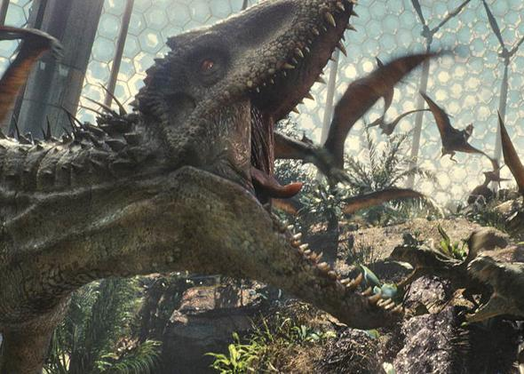 "The Indominus rex dominates all creatures in her path in ""Jurassic World""."