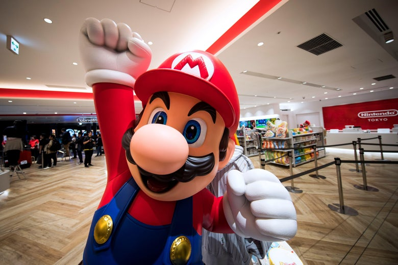 A Mario statue is seen at a Nintendo store.