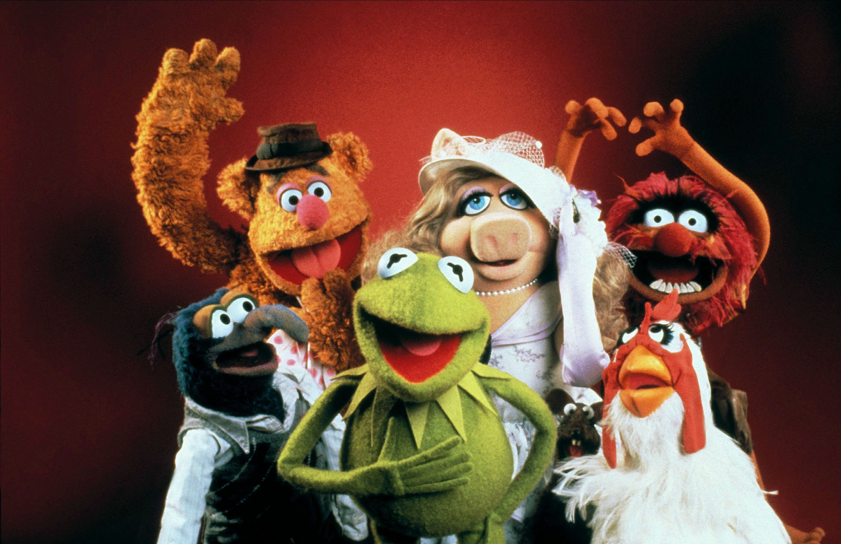 A collection of the Muppets pose happily against a red background.