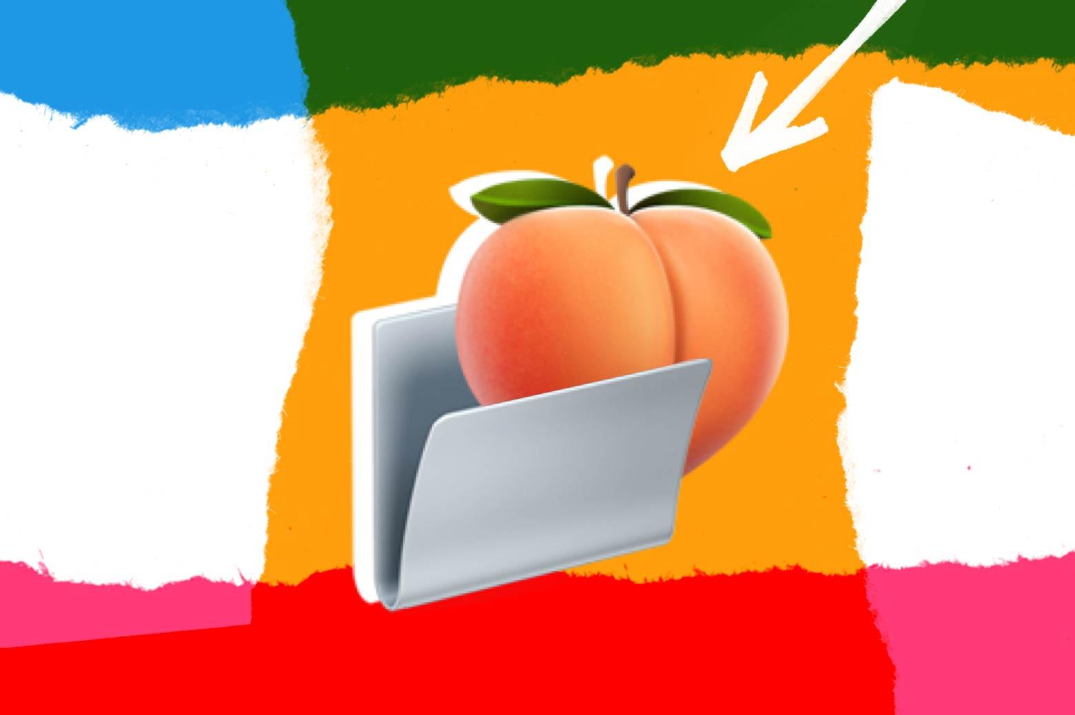 A peach emoji nestling into a folder emoji.