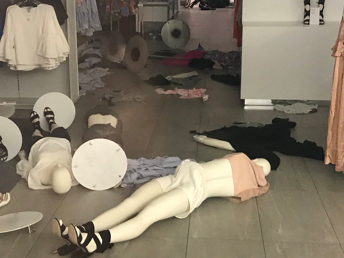 A vandalised H&M store is seen in Sandton, South Africa, January 13, 2018 in this picture obtained from social media.