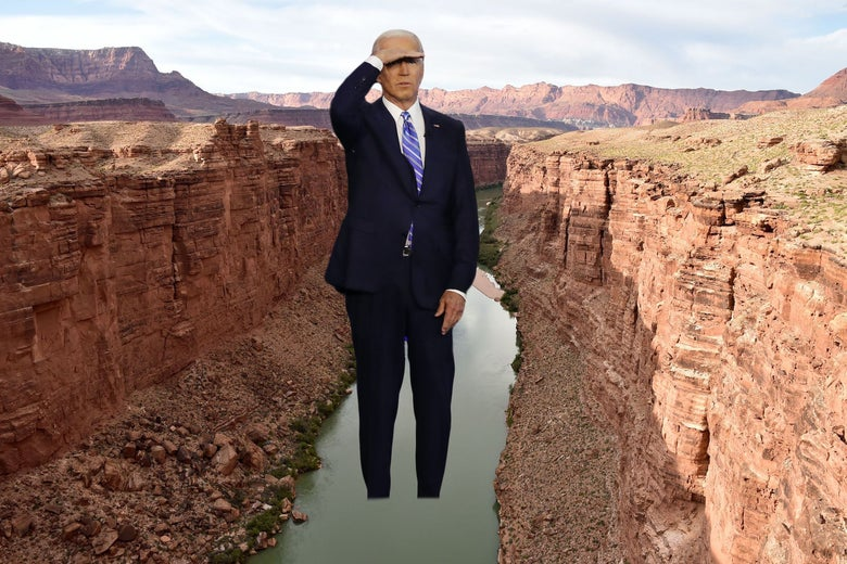 Giant Joe Biden photoshopped standing in the Grand Canyon