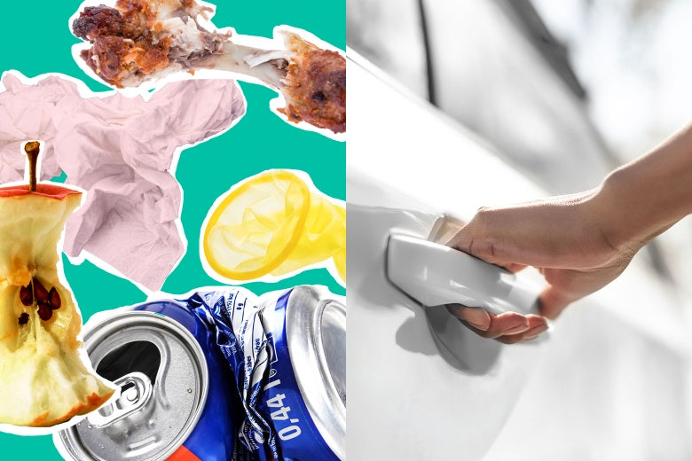 Photo illustration: an apple core, crushed soda can, used linen, half-eaten chicken wing, and a condom juxtaposed against a car door about to be opened.