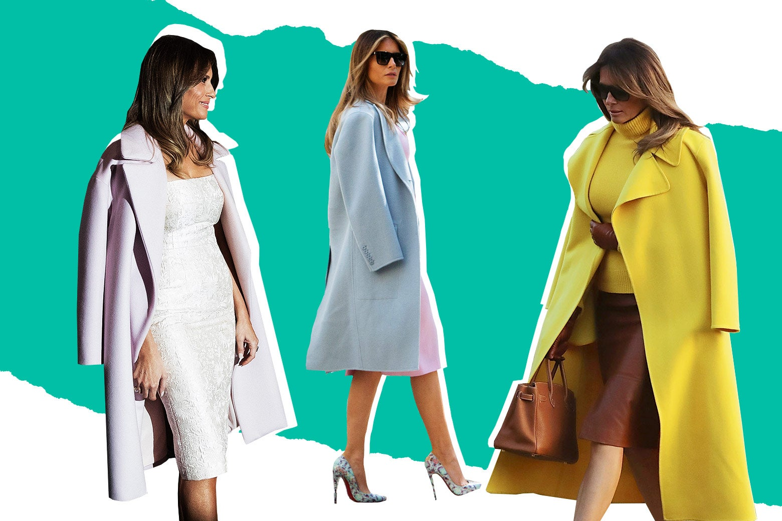 A collage of a chilly first lady, Melania Trump wearing a jacket over her shoulders.