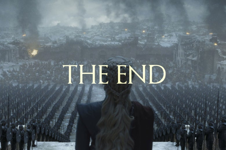 Game of Thrones still with The End written over it.
