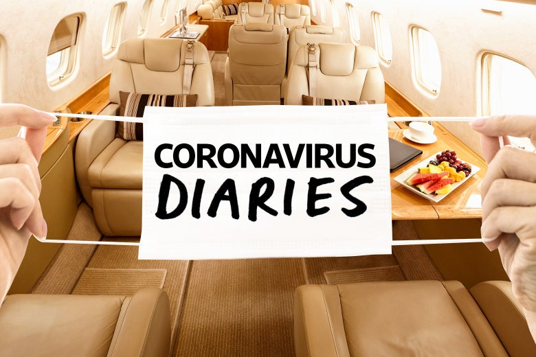 An illustration of a mask that reads 'coronavirus diaries' is seen in front of the interior of a luxury private jet.