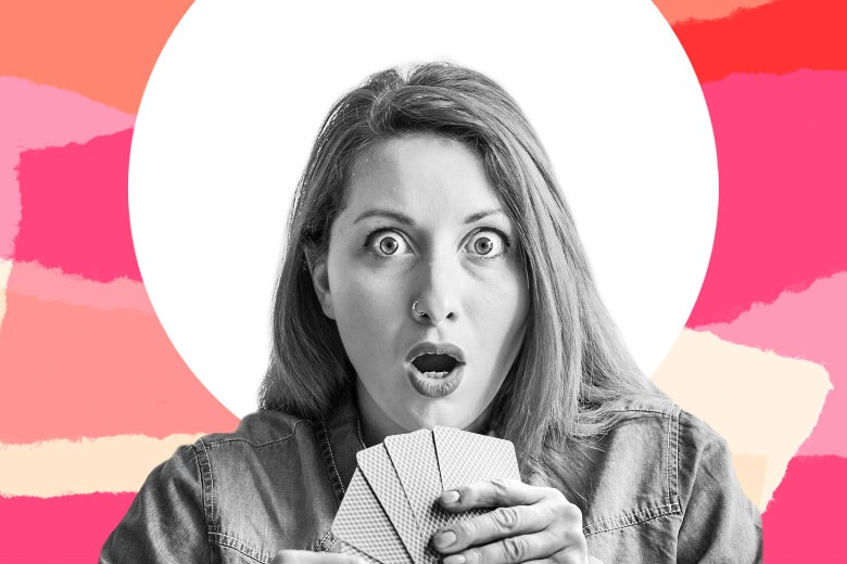 Photo illustration of a woman looking shocked while playing cards.