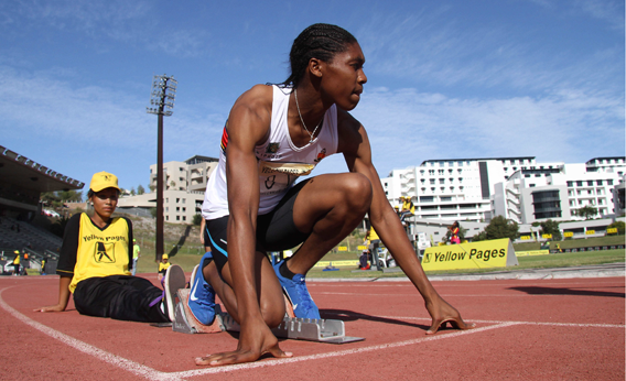 Caster Semenya of South Africa prepares before the start of the women's 400m during the Yellow Pages Interprovincial final on March 03, 2012 in Cape Town, South Africa.