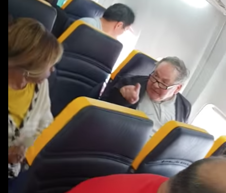 A man repeatedly hurled insults at an elderly black woman in a Ryanair plane that was about to take off from Barcelona on Oct. 18, 2018.