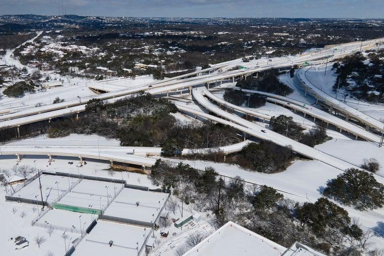 unplowed empty highways