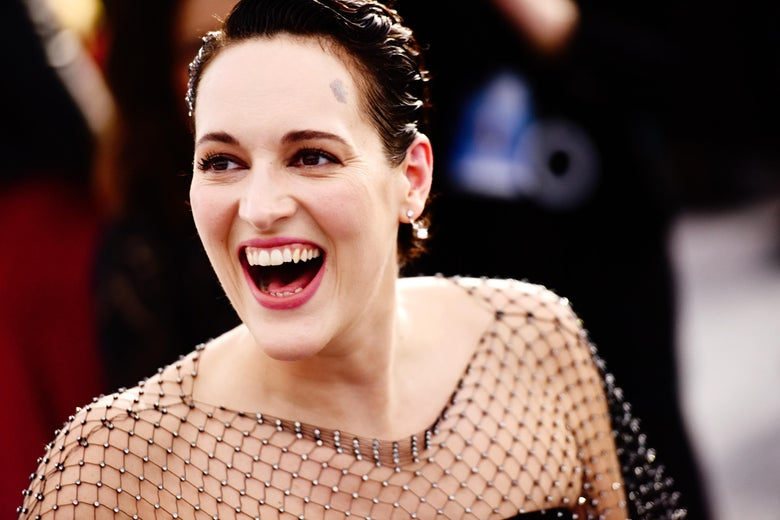 Phoebe Waller-Bridge, smiling widely.