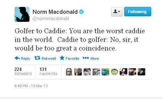 Norm Macdonald Twitter: Why you should be following the comedian's boring, genius golf commentary. - Slate Magazine