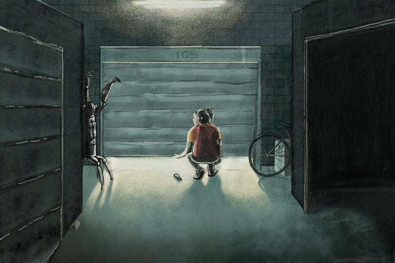 A person in a room crouches while looking at a robot that's standing against the wall on the left. An open garage can be seen, along with a bicycle wheel.
