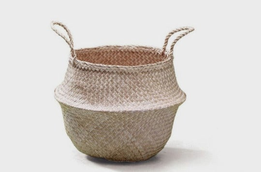 Sosibon Large Seagrass Belly Basket With Handles.